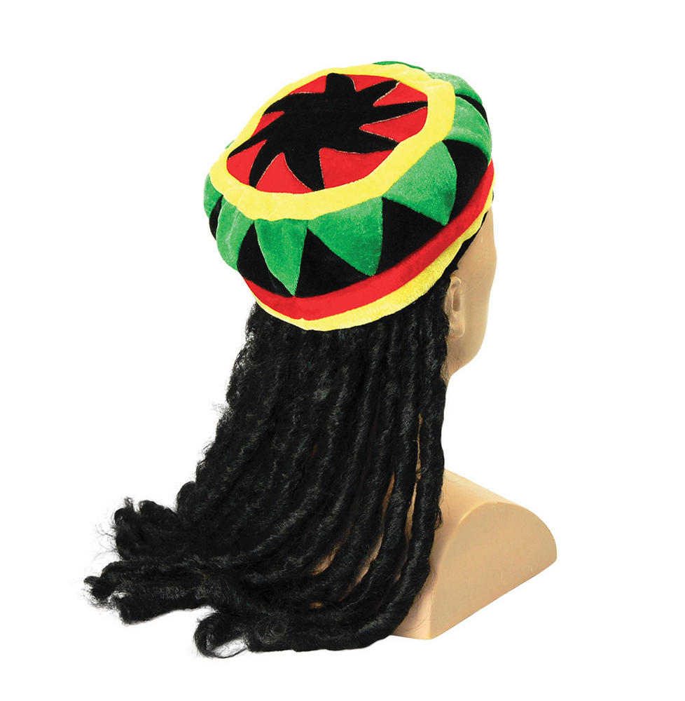 Rasta Hat + Hair Rastafarian Jamaican Tropical Fancy Dress Accessory