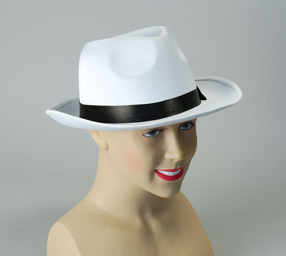 Gangster Hat White Satin Finish 20s 30s Mobster Mob Fancy Dress Accessory
