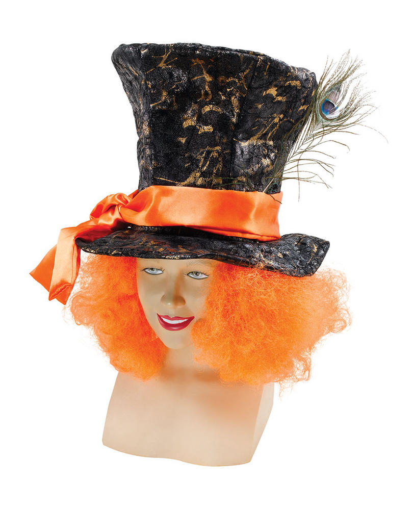 Mad Hatter Hat + Hair Wonderland Mad Fancy Dress Accessory