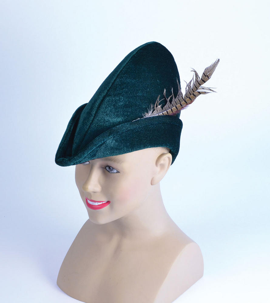 Medieval Robin Hood Hat Soft Felt Middle Dark Ages Fancy Dress Outfit Cosplay