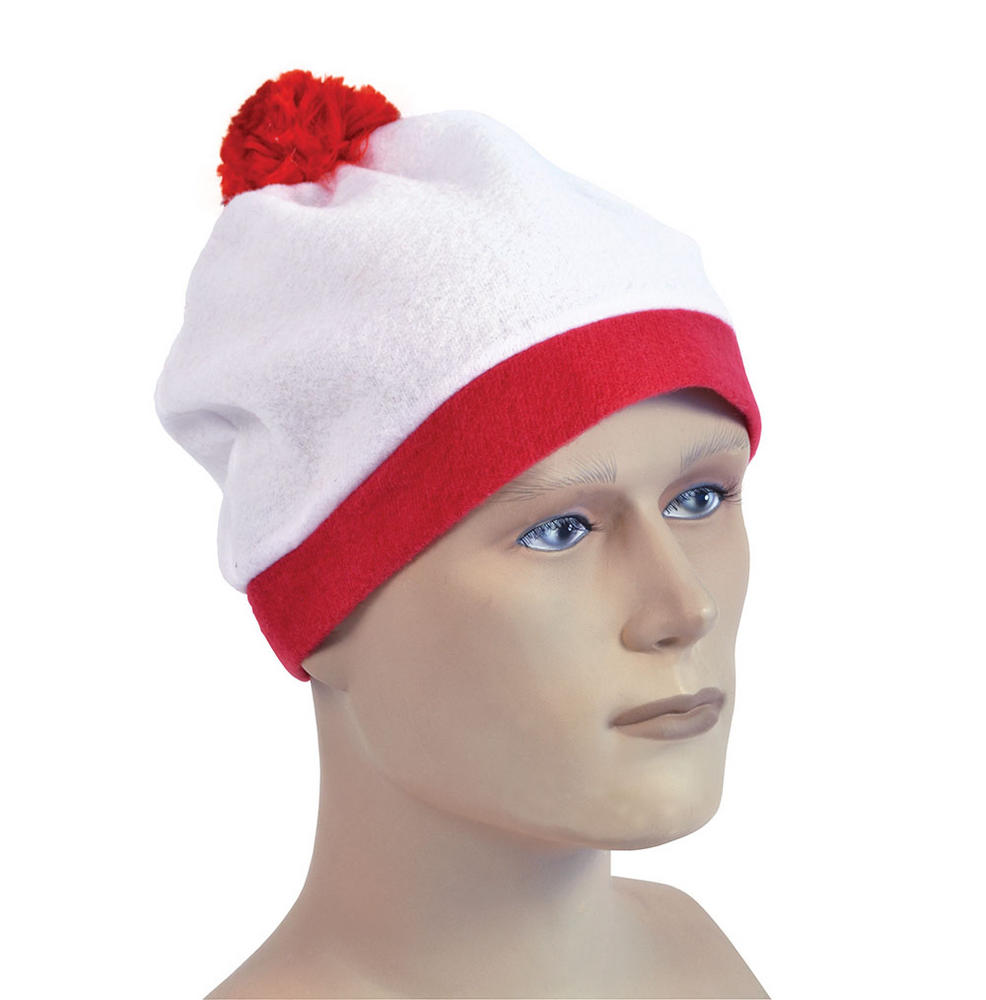 Bobble Hat White + Red Pom Pom American Cheerleader Sport Fancy Dress Accessory