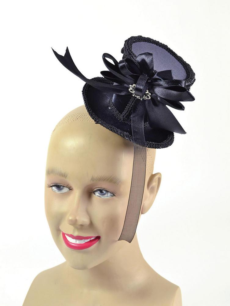 Ladies Victorian Tall Hat Black Mini 18th Century Dickensian Fancy Dress