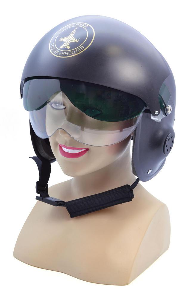 Jet Pilot Helmet Airman Air Crew Captain Biggles WWII Officer Fancy Dress