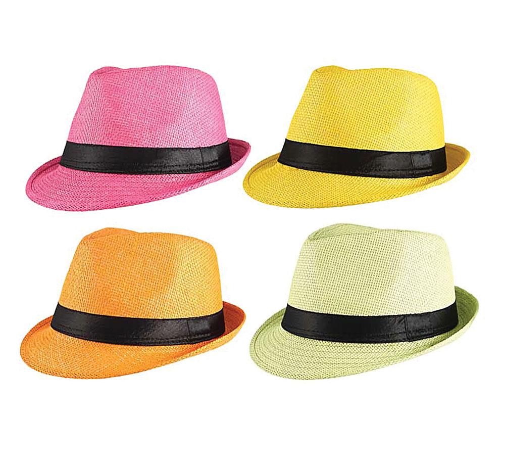 Gangster Straw Hat Assorted Colours 20s 30s Mobster Mob Criminal Fancy Dress