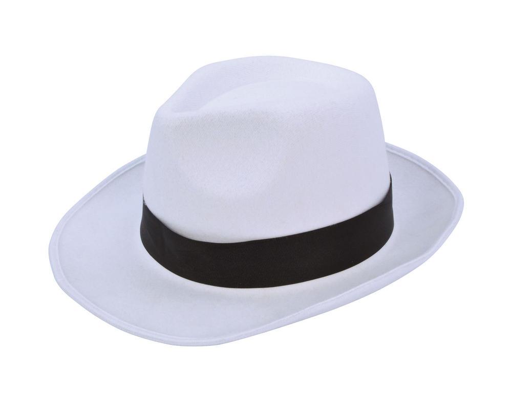 Gangster Hat White with Black Band 20s 30s Mobster Mob Criminal Fancy Dress