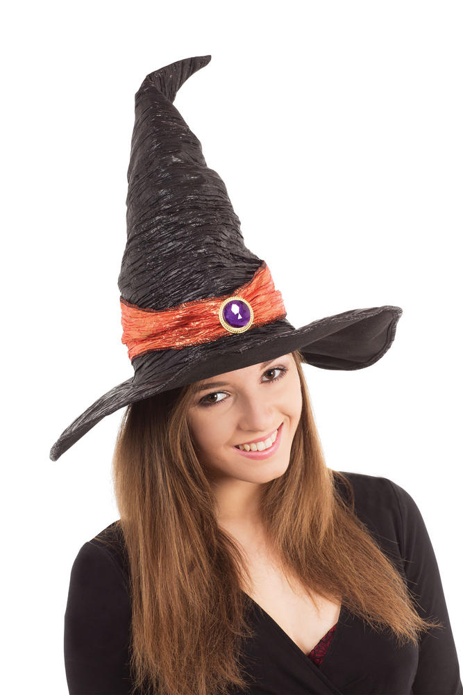 Witch Hat Black with Orange Band Halloween Oz Eastwick Fancy Dress Accessory