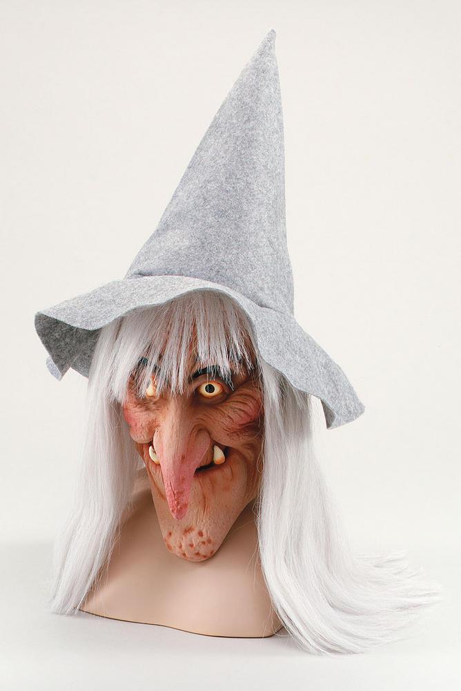 Witch Grey Hat & Hair Mask Halloween Oz Eastwick Fancy Dress Accessory