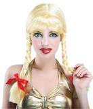 Ladies Pigtail Blonde Wig Schoolgirl Dutch Swiss Bavarian German Fancy Dress