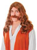 Hippy Man + Tash Set Brown Moustache Accessory for Hippie 60s 70s Fancy Dress Mo