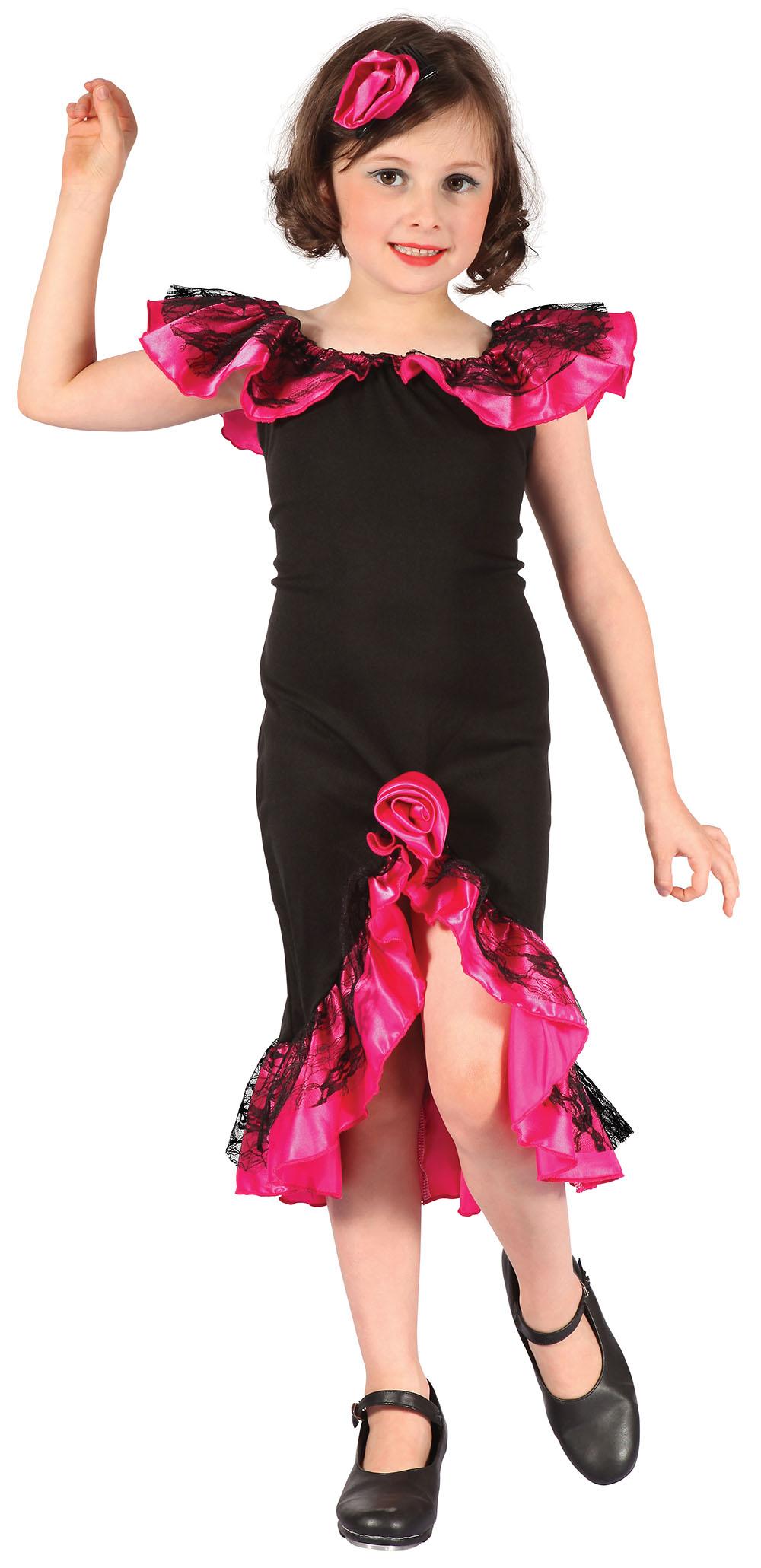 Childs Rumba Girl Black/Pink Costume Spain Spanish Latin American Fancy Dress | eBay
