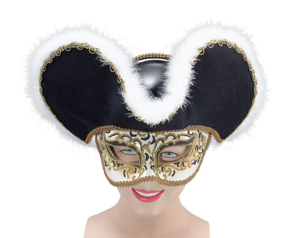 Gold Highwayman + Hat Eyemask Masquerade Ball Eye-Mask Eye Mask Fancy Dress