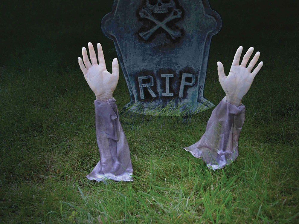 Halloween Zombie 2 Arms Lawn Stakes Trick Or Treat Party Decoration