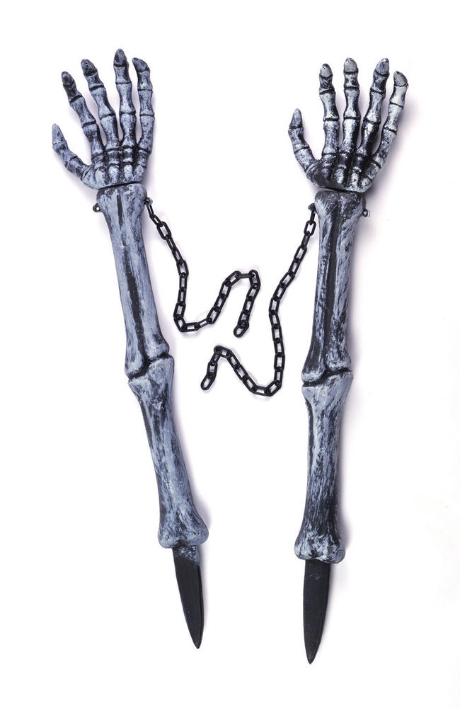 Halloween Skeleton Hand Lawn Stakes Trick Or Treat Fancy Dress Party