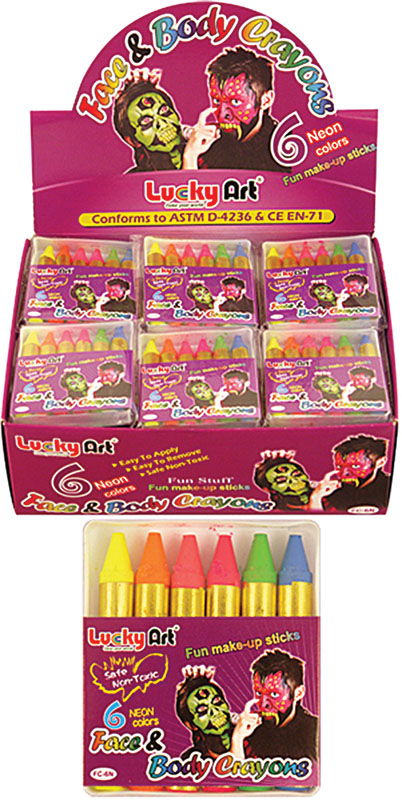 Makeup Neon Face Paint Crayons (6 per box) SFX Cosmetic Artist