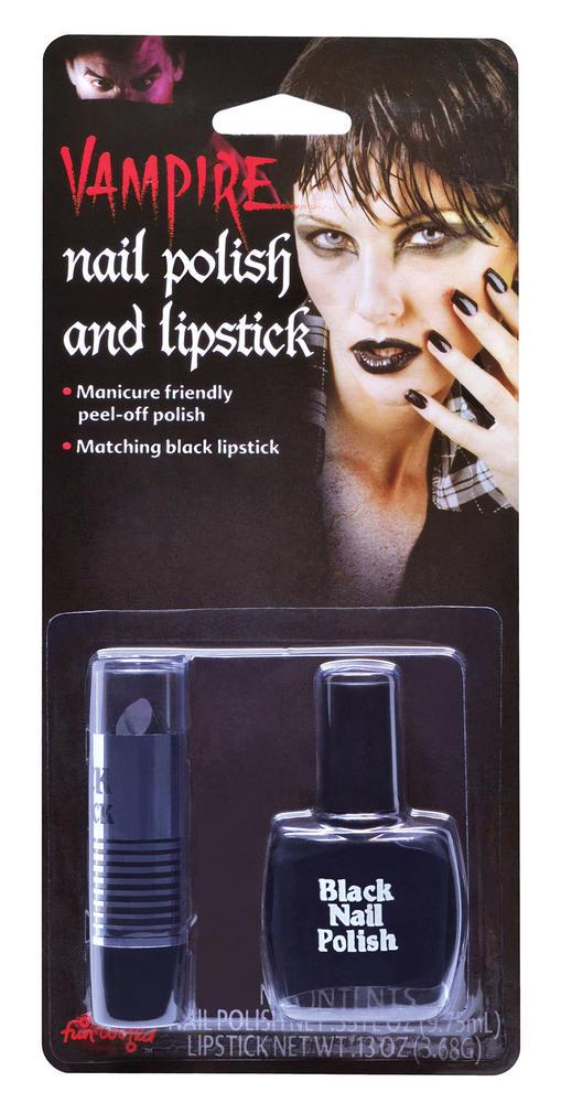 Makeup Black Nail Polish & Lipstick SFX Cosmetic Artist