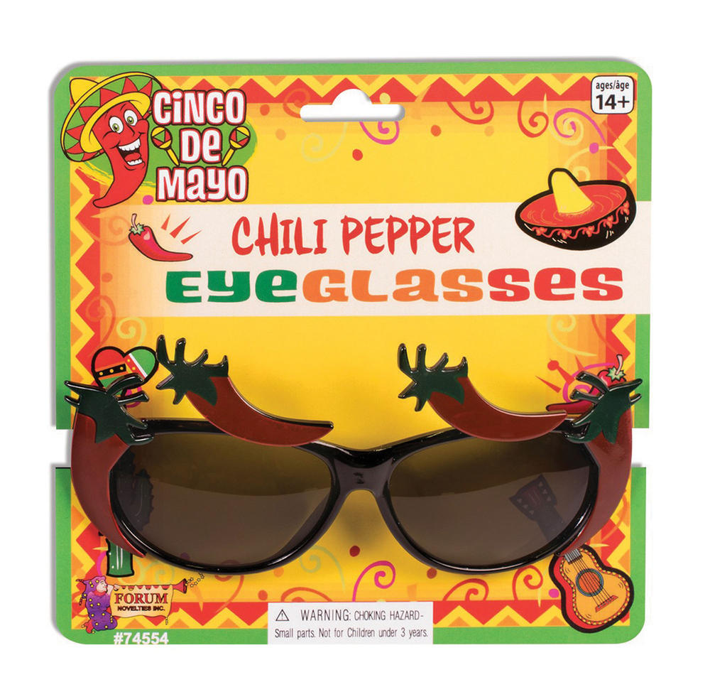 Chilli Pepper Eyeglasses Mexican Spicey Food Fancy Dress Accessory
