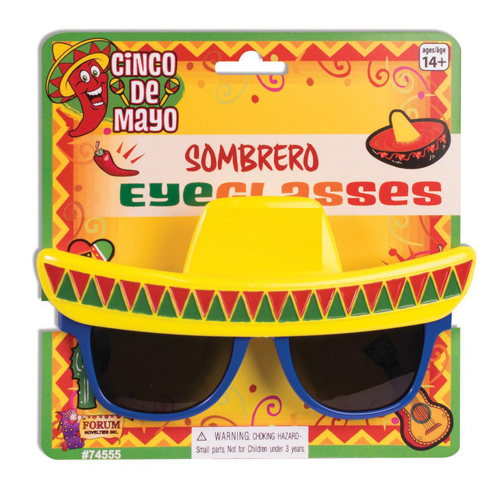 Sombrero Sunglasses Mexico Mexican Wild West Cowboy Bandit Hat Fancy Dress
