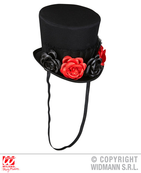 MINI TOP HAT WITH TULLE & 4 ROSES Day Of Dead Accessory for Walking Dead hallowe