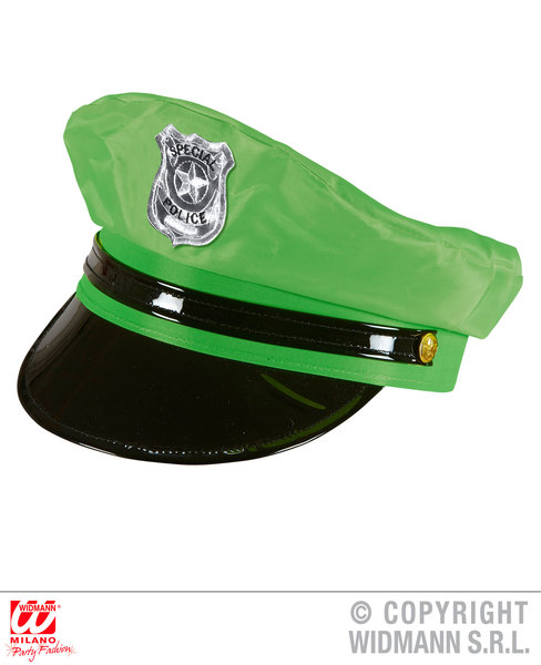 NEON GREEN POLICE HAT Accessory for Cop Policeman Copper Bobby Fancy Dress