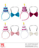 CLOWN HAPPY BIRTHDAY CAKE HEADBAND & BOW TIE 4 colors ass Hat Partyware for Circ
