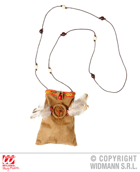 INDIAN BAG W/DREAMCATCHER MOTIF Accessory for Native Wild West American Cowboys