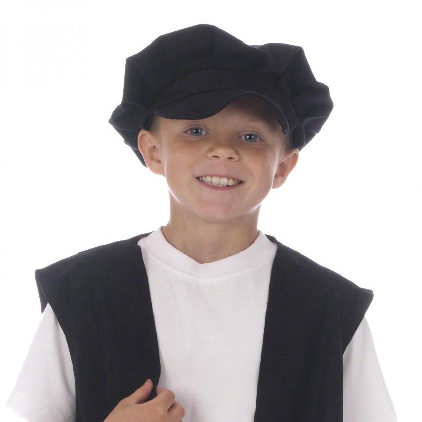 Kids Flat Cap (Black) Costume for Victorian Edwardian Dickensian Fancy Dress one