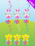 6Pk of Easter Swirl Decorations for Easter Party Bunny & Chick Hanging Wall Acce