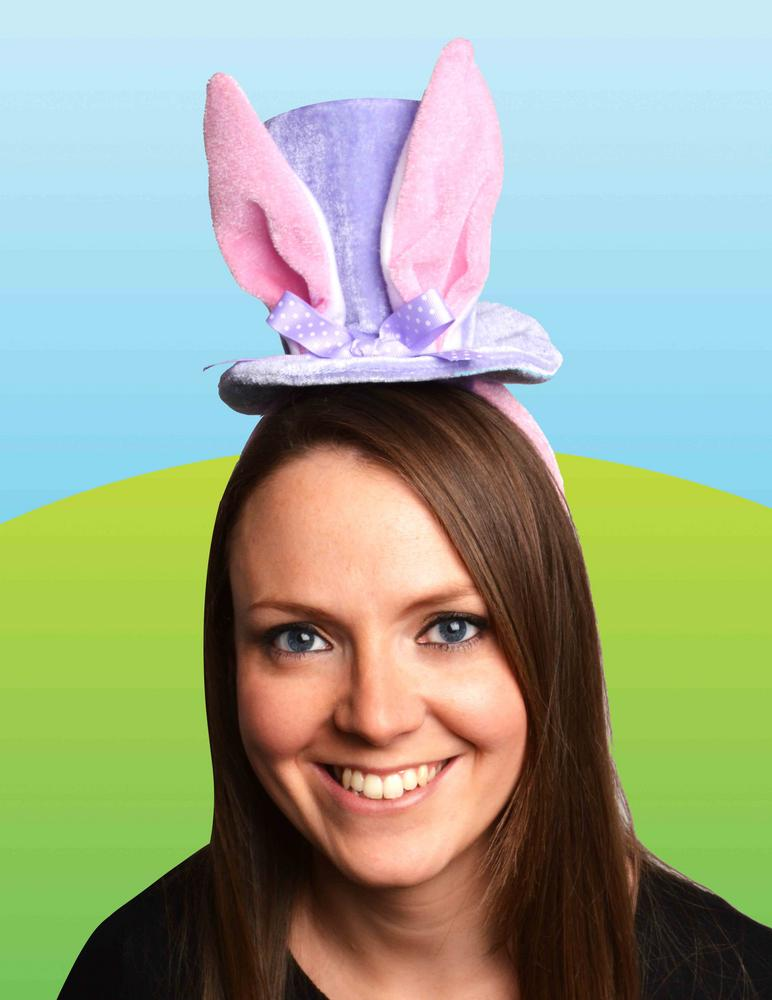 Girls Bunny Rabbit Top Hat on Headband with Ears for Easter Fancy Dress Costume