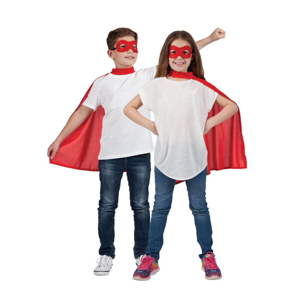 Childrens Unisex Childs Super Hero Cape & Mask Costume for Superhero Fancy Dress