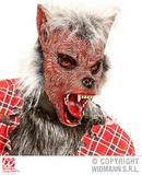 WEREWOLF HALF FACE MASK WITH HAIR Warewolf Halloween Beast Creature Fancy Dress