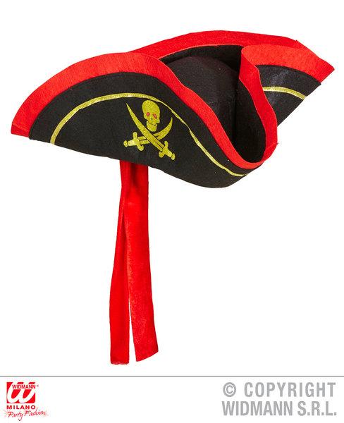 PIRATE TRICORN WITH HEADBAND Hat Buccaneer Sailor Jack Blackbeard Fancy Dress