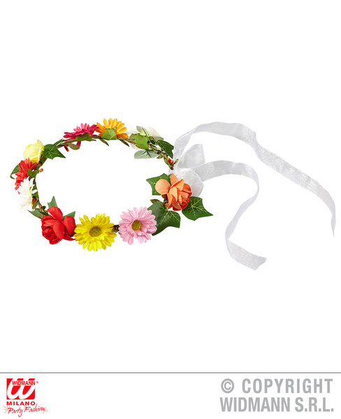 FLOWER DIADEM WITH RIBBON Hat Accessory for 60s 70s Hippie Fancy Dress