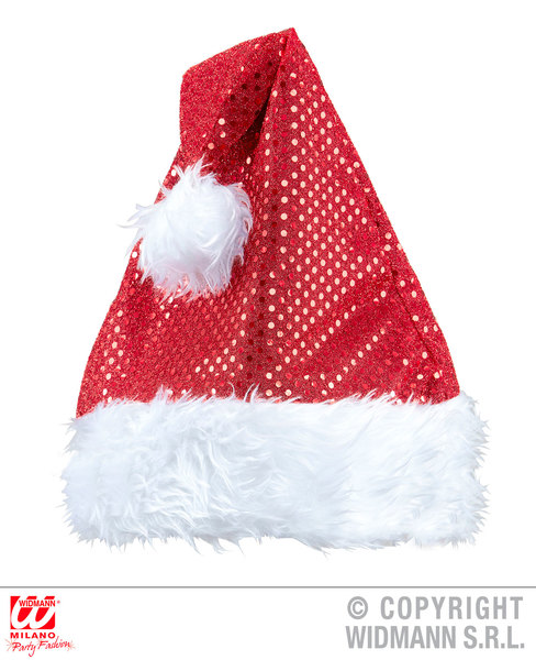 SEQUIN SANTA CLAUS HAT Accessory for Father Christmas Fancy Dress