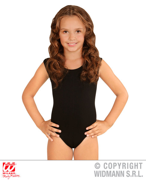 Adult Unisex BLACK SLEEVELESS BODYSUIT COSTUME Gymnast Dancer Ballet Fancy Dress
