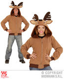 Adult Unisex REINDEER HOODIE Costume Christmas Animal Festive Fancy Dress