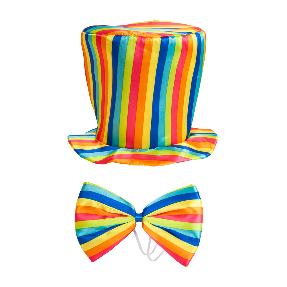 Clowns Rainbow Top-Hat & Bow Tie for Circus Funfair Parade Fancy Dress