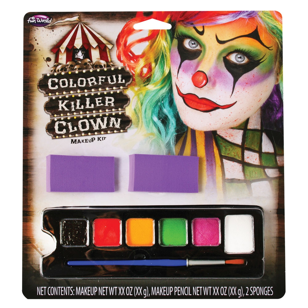 Colourful Killer Clown Kit Makeup for Halloween Circus Carnival Cosmetics