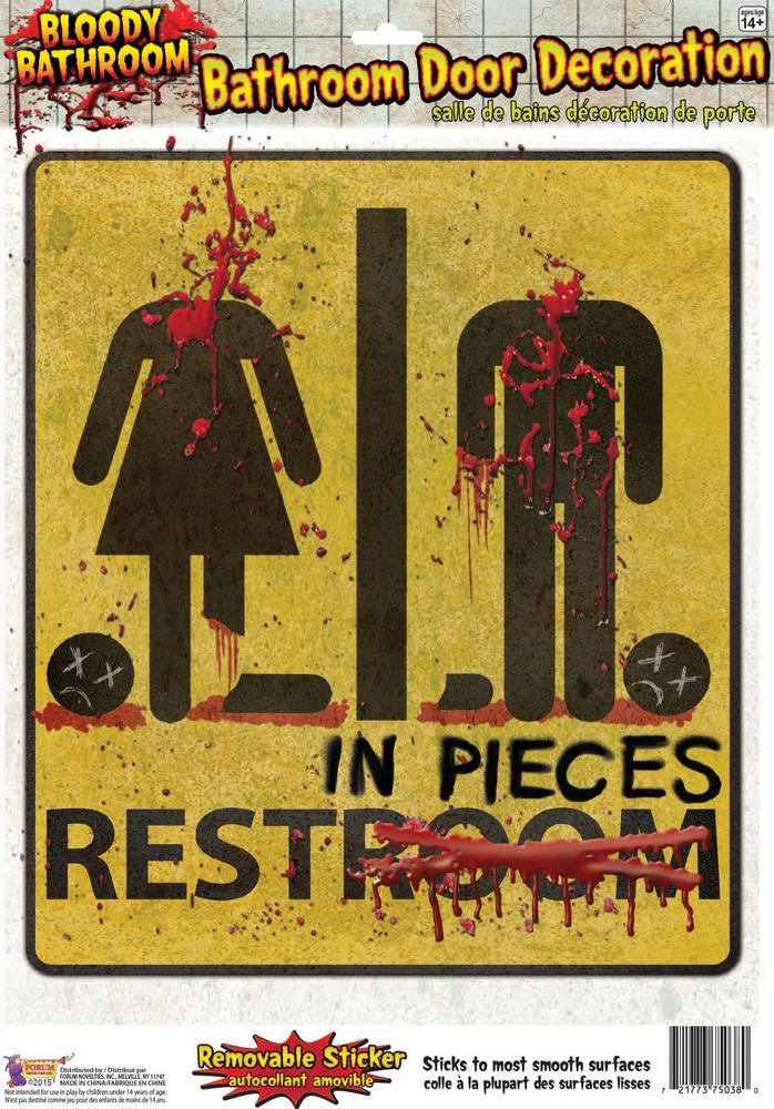 Bloody Unrestroom Door Sign Bleeding Wound Vampire Party Decoration