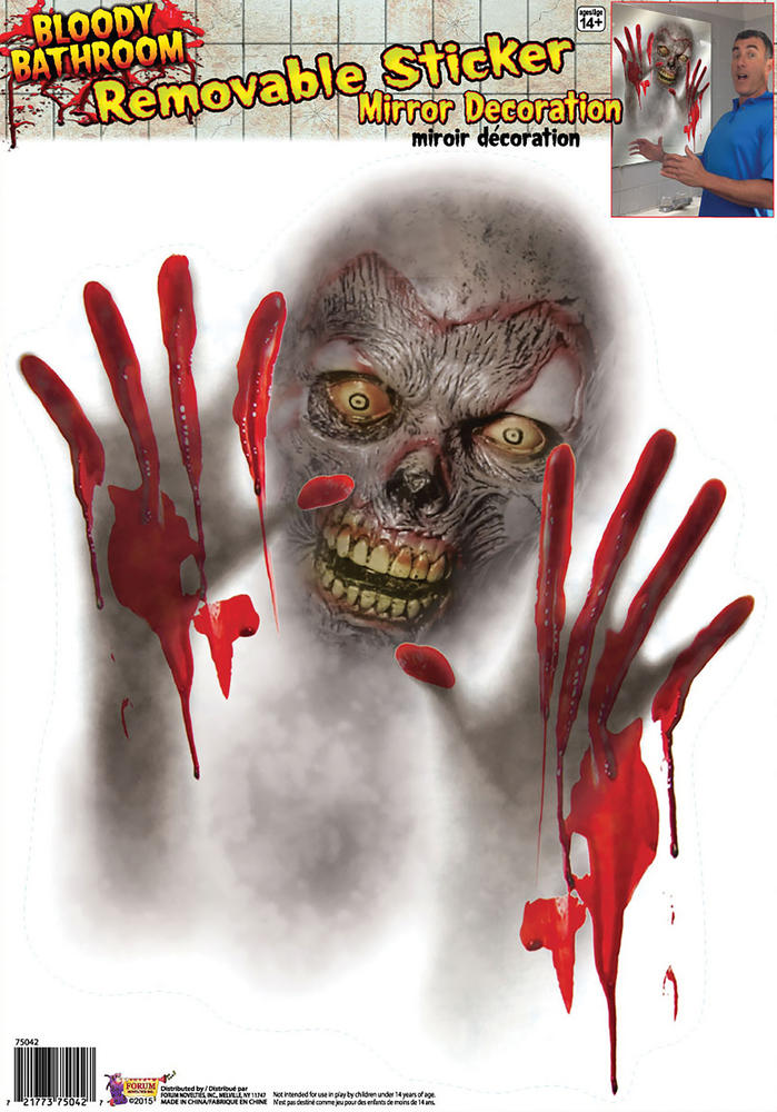 Bloody Bathroom Mirror Stickers Prop for Halloween Party Decoration