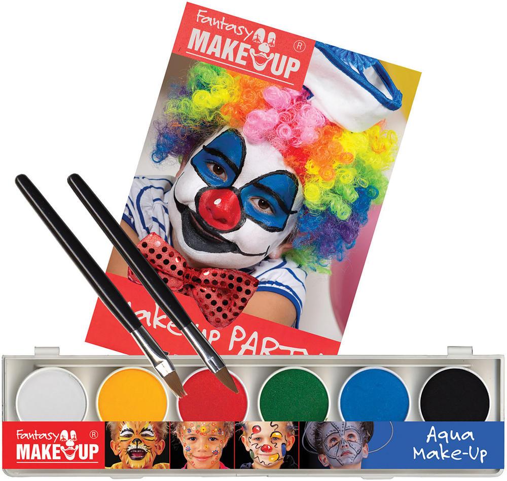 Makeup Aqua 6 colour Box W/Book + Sponge SFX Cosmetic Artist