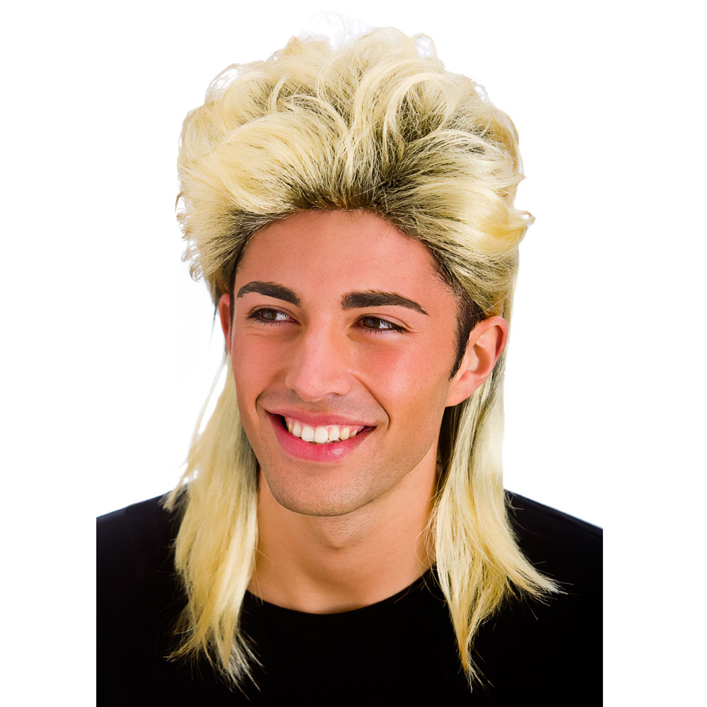 Mens Mullet Wig for 70s 80s Fancy Dress Cosplay Outfit