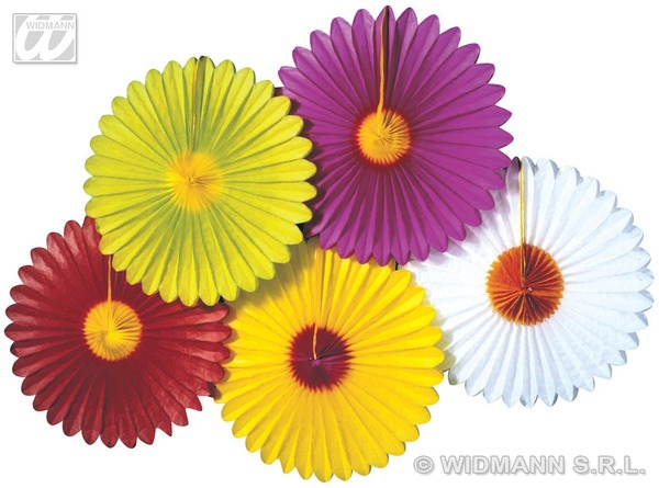 DAISY PAPER FAN 50cm 5 cols Accessory for Fancy Dress