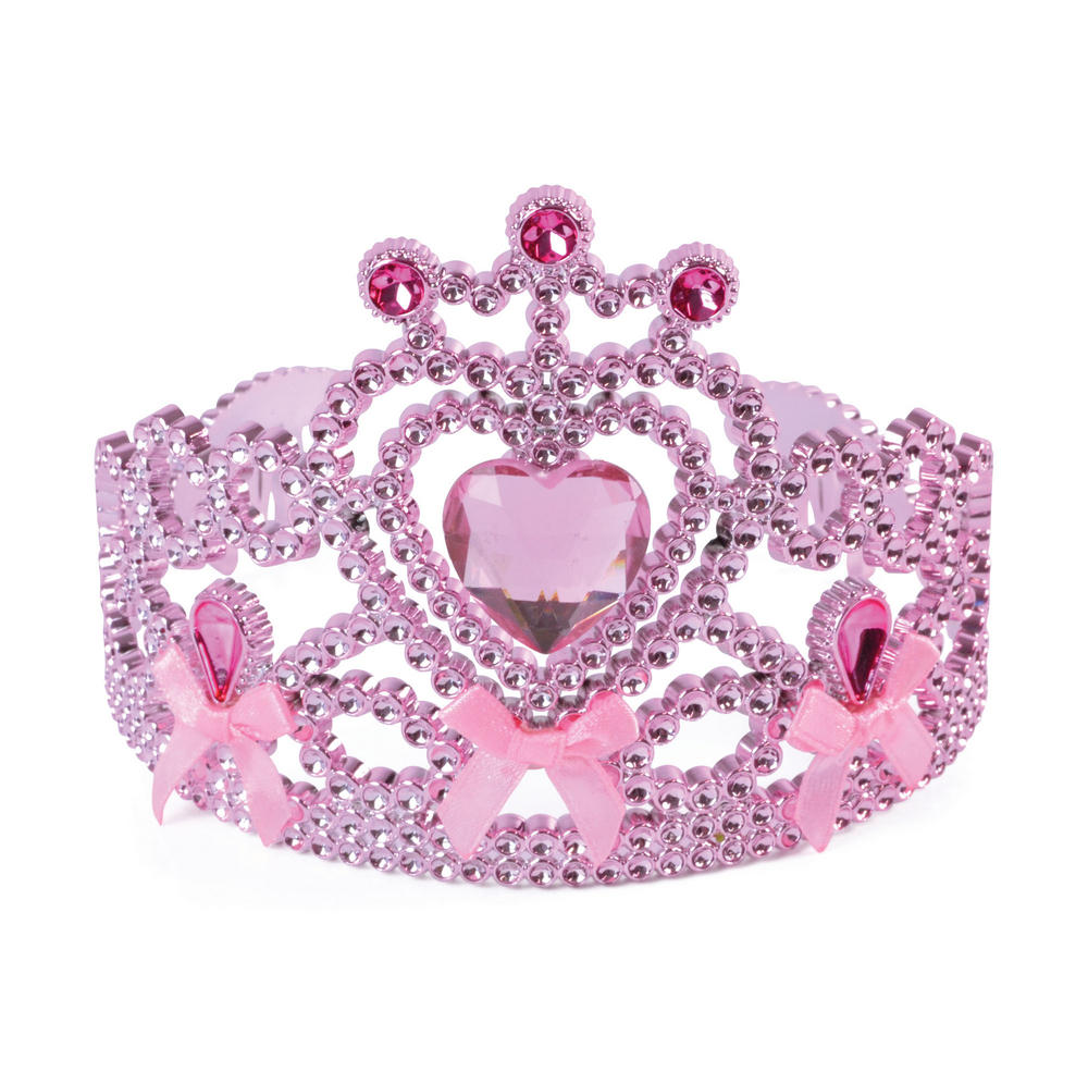 Ladies Pink Tiara W/Ribbon Bow Ties for Fairytale Princess Hen Party Fancy Dress
