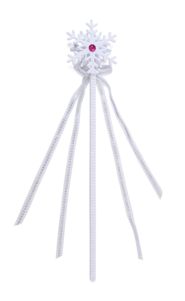 Snowflake Wand White Magic fairytale Stick Fancy Dress Party