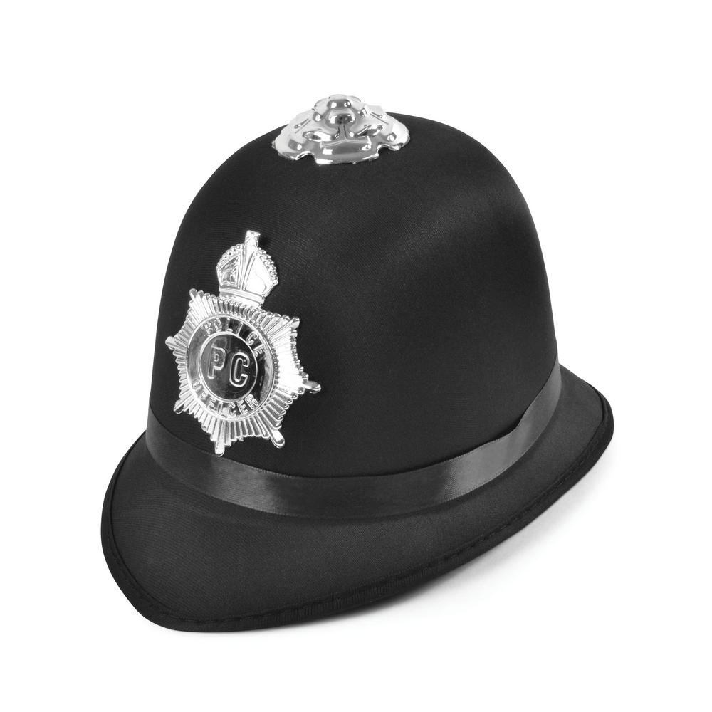 Police Bobby Hat Satin Fabric Cop Policeman Copper Bobby Fancy Dress Accessory