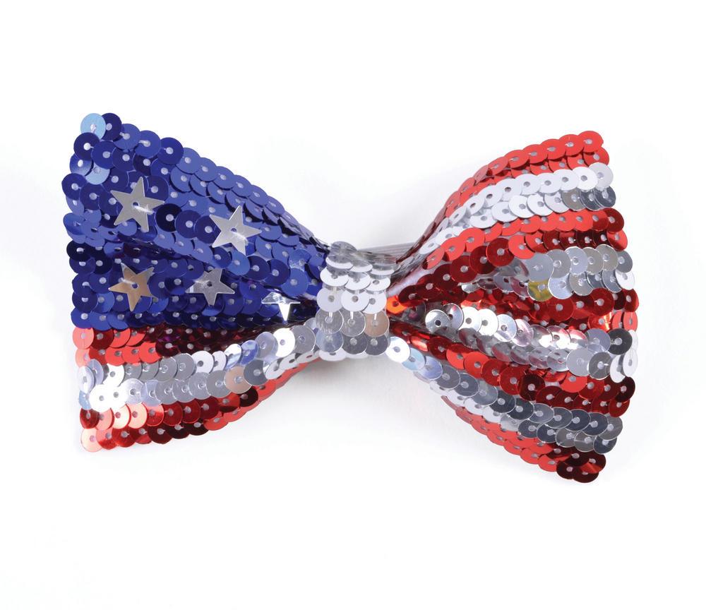 Sequin Bow Patriotic Clown Circus FunFair Parade Fancy Dress Accessory