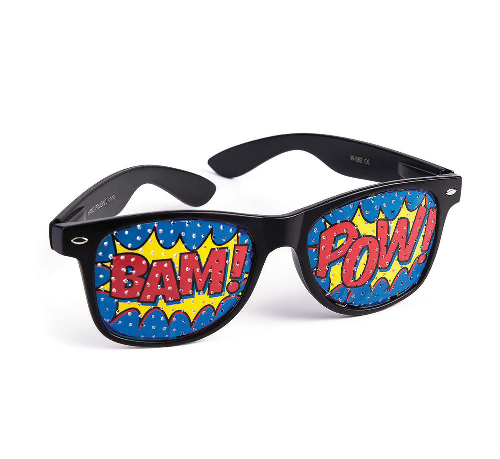 "Pop Art ""Pow"" Screened Sunglasses 70s 80s 90s Music Rock Fancy Dress Accessory"