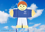 Kids Fly Guys Blue Soccer Footballer Boys Kite for Outdoor Camping Sports Games