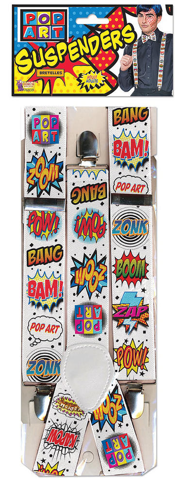 Pop Art Braces for 70s 80s 90s 00s Music Rock Fancy Dress Outfit Accessory