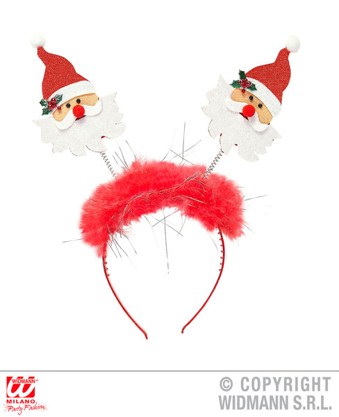 SANTA CLAUS HEAD BOPPER WITH MARABOU & TINSEL Accessory for Father Christmas Fan
